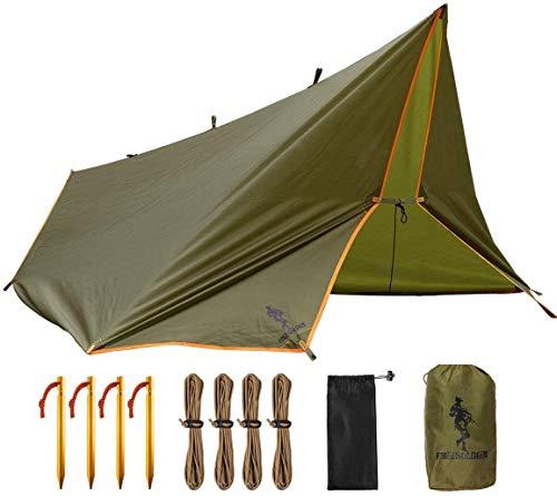 FREE SOLDIER Tarp Wasserdicht 3m x 3,2m Tarp Ultraleicht Zeltplanen UV Schutz Camping Sonnensegel Zelt Freien Multifunktionales Große Tarp für Camping, Wandern, Outdoor-Aktivitäten(Braun)