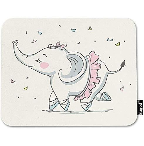 Muismat olifant schattig cartoon schattig meisje ballerina roze tutu strik speelmat muismat antislip rubberen pad voor laptop, pc, bureau en thuis