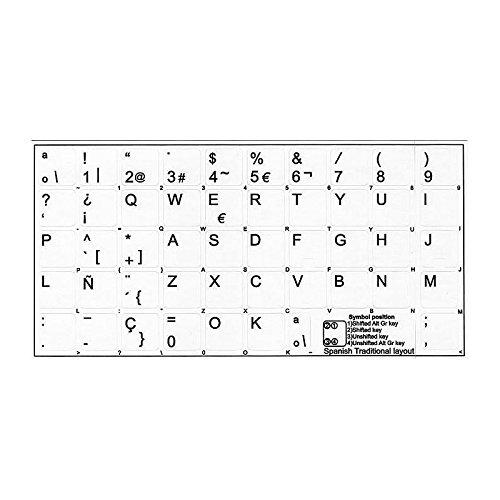 '4Keyboard' Etiquetas Adhesiva Teclado Espanol Blanco Cualidad Superior