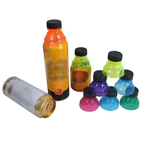 Longay 6Pcs Soda Saver Pop Beer Beverage Can Cap Flip Bottle Top Lid Protector Snap On (6)