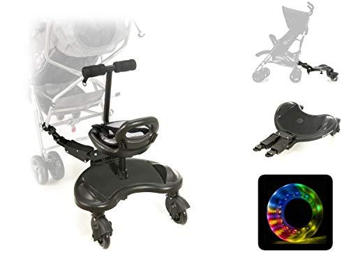 Moby-System, Board mit Sitz für Rollstühle mit Sitz Universelle Plattform für ältere Kinder, Leuchtende LED-Räder mit Stoßdämpfung passend für jeden Kinderwagen