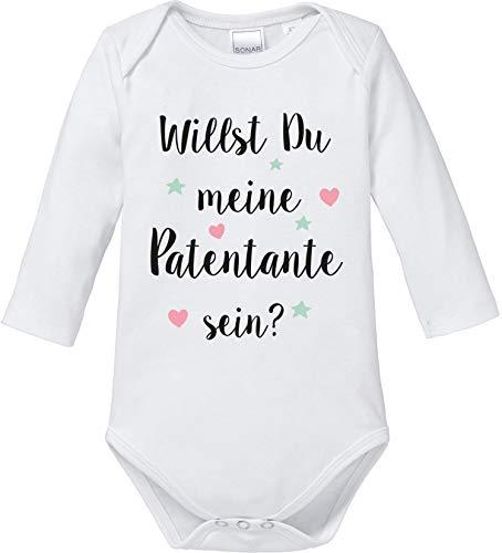 EZYshirt® Willst du Meine Patentante Sein | Strampler Patenschaft | Patenkind Body Baby Langarm Bio Baumwolle