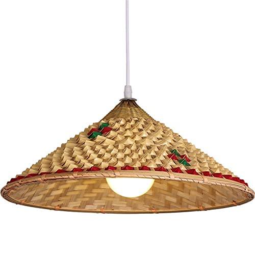FMOGQ Candelabro Sombrero De Piña Tejido De Bambú Hecho A Mano Bricolaje Ratán Mimbre Tonos De Lámpara Lámpara Colgante Lámpara Colgante De Techo Retro Chino para Sala De Estar, Dormitorio, Comedor