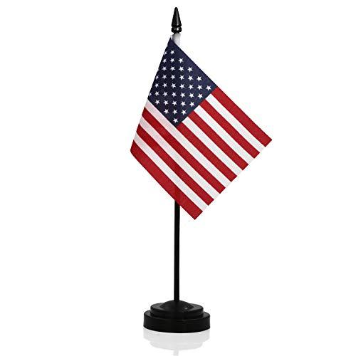 Anley USA - Juego de Banderas de Escritorio Bandera de Escritorio Estadounidense Miniatura de 6 x 4 Pulgadas con Poste sólido de 12'- Color Vivo y Resistente a la decoloración