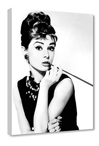 Quadri L&C ITALIA Audrey Hepburn 3 - Quadro Moderno 50 x 70 Soggiorno e Camera da Letto Ragazza Stampa su Tela da Parete Bianco Nero