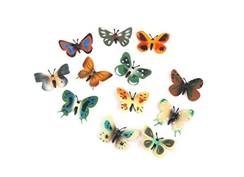 Nalmatoionme 12 pcs Creative Modèle Plastique Papillon Figurines enfants jouet (Multicolore)