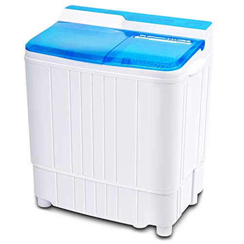 Portable Mini Washing Machine, INVIE Compact 17.6lbs Twin Tub Washer (11lbs) and Spin Dryer Combo (6.6lbs), Timer Control with Soaking Function Ideal for Dorms, Apartments, RVs, Camping etc, Blue