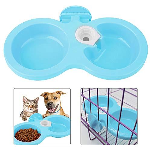 Pssopp Fressnapf für Hund Katze, Doppel Fressnapf Hundenapf katzenapf Näpfe zum Aufhängen im Käfig Futternapf Wassernapf für Haustiere Hunde Katze Kaninchen Hase Hamster(Blau)