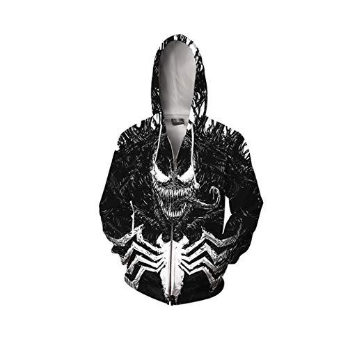 Chiefstore Venom Kapuzen Pullover Film Gedruckt Jacke Pulli Erwachsene Herren Cosplay Kostüm Sweatshirt für Frühling und Herbst (Zipper, XL)