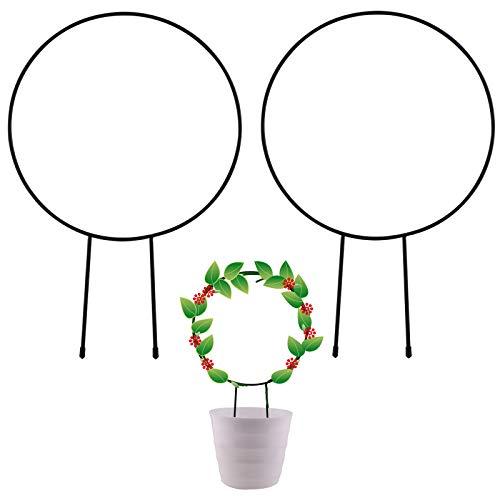 SAVITA 2 Pezzi Traliccio da Giardino in Metallo per Arrampicata su Piante, Pali Decorativi per Piante in Vaso da 33cm con Rivestimento Nero, Supporto per Piante Rampicanti in Ferro(Rotonda)