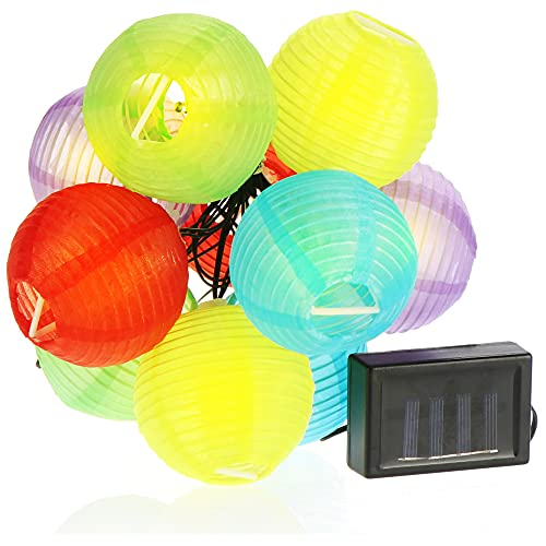 com-four Cadena de Linterna Solar - Cadena de luz LED con 10 linternas - Decoración Colorida para casa y jardín - Decoración Exterior para balcón (Ø7.5cm - 10 LED)