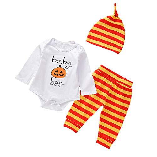 Floridivy 3Pcs Halloween Kids Baby Romper met Stripe rompertjes, baby streep jumpsuit, babybodysuit, toddle Broek Hat Kids shirt Bovenkant van de Broeken Kleding Set Outfit