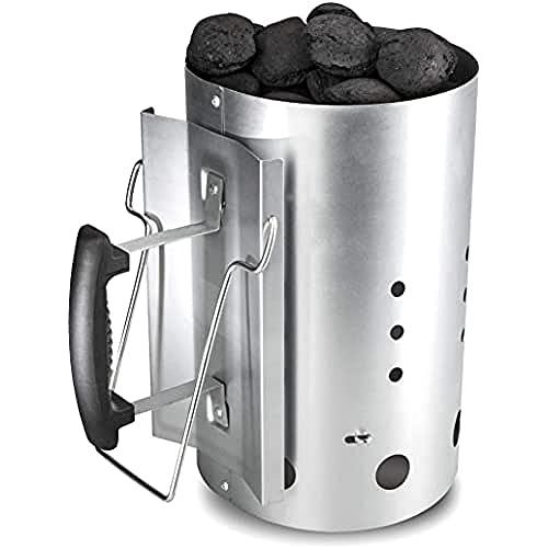 Bruzzzler Cheminée d'allumage, allume-feu, allume-charbon, avec poignée de sécurité en plastique et une deuxième poignée rétractable, cheminée d'allumage pour charbon, 31x19,5x30,5cm