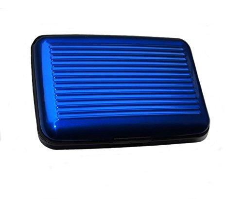 MAXBOX - Kreditkartenetui Alu blau - RFID & NFC Schutz - 6 Fächer für bis zu 12 Karten