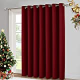 NICETOWN Blackout Blinds for Sliding Door - Indoor Slider Curtains for Patio, Wide Width Drapes for Living Room (Burgundy Red, 100 inches Wide x84 Long)