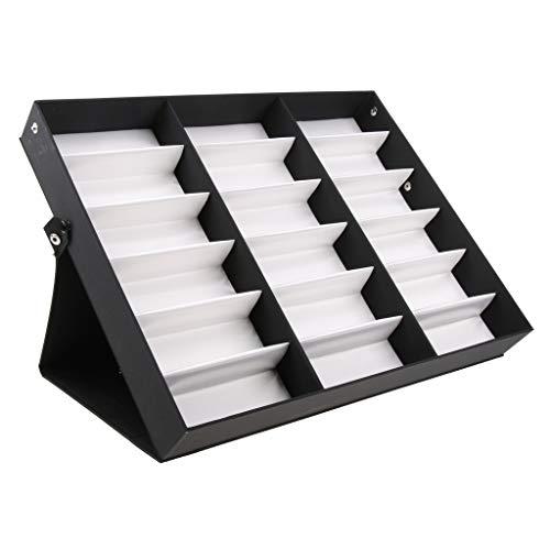 Milageto Almacenamiento de Gafas Caja de Presentación Gafas Gafas de Sol Organizador Estante 18 Cuadrícula - Blanco, 47 x 37 cm