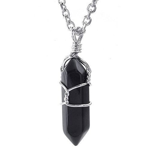 Konov Men's and Women's Stainless Steel Plain Jewellery Crystal Black Agate Onyx Alloy Hexagon Pillar Chakra Pendant with 60 cm Chain Black