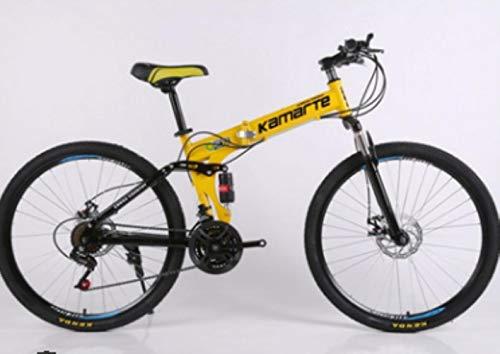 Pakopjxnx vélo Pliant 24/26 Pouces Frein à Vitesse Variable VTT Cadre en Acier au Carbone vélo de Route, Jaune, 24 Pouces
