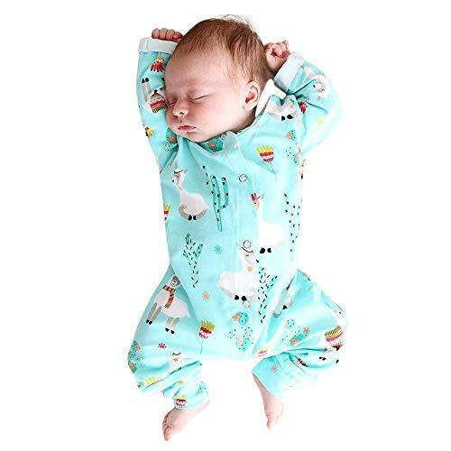 Hirolan Overall Unisex Strampler Kleinkind Niedlich Bequem Baby Mädchen Jungs Langarm Alpaka Drucken Spielanzug Baumwolle Romper Jumpsuit Kleidung Outfits(6-24 Monat)(Blau,70)