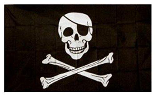 Offerta Speciale - Bandiera Jolly Roger Pirata 150 x 90cm - Nero, 1 Confezione, Poliestere