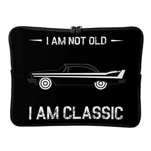 Bolsa para ordenador portátil con texto 'I Am Not Old I Am Classic' personalizable, ampliable a diario – Bolsa para portátil adecuada para viajeros