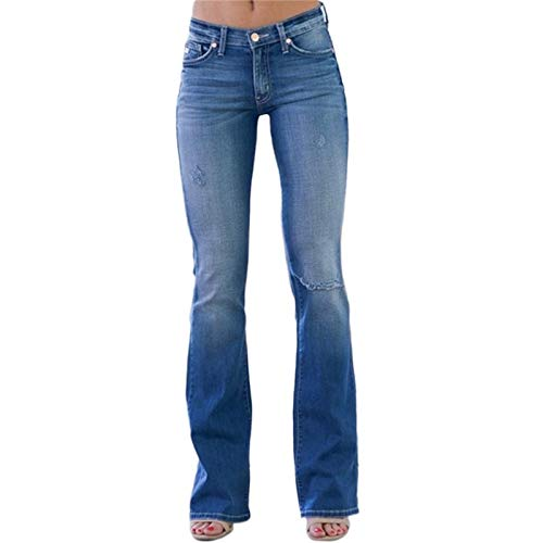 Justwide Pantalones Vaqueros EláSticos con Bolsillo De Cintura Alta con Botones para Mujer Pantalones Vaqueros Delgados(Azul,XXL)