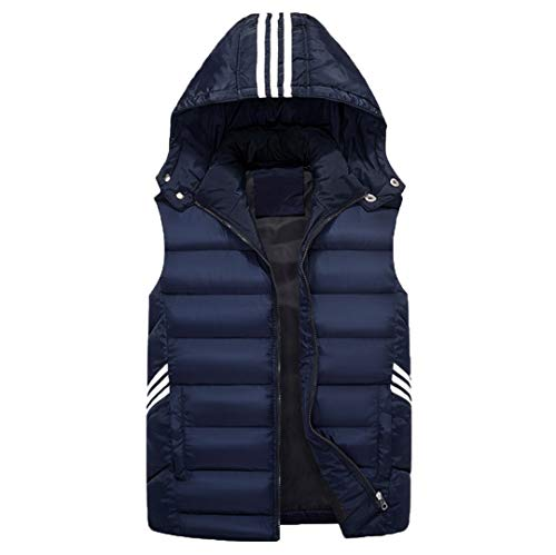 Hommes Gilet sans Manches Mode d'hiver Manteaux Casual Coton rembourré Gilet Thicken Blue XXXL