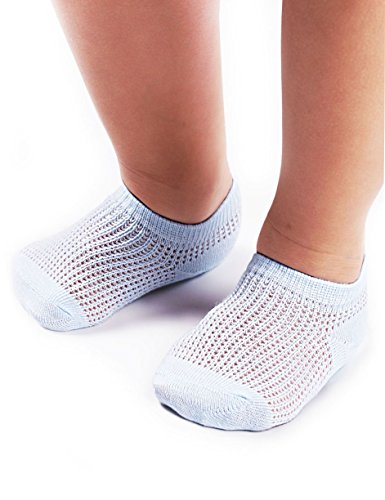 BabaMate 5 Pairs Toddler Little Kids No Show Ankle Socks Girls Boys- Soft Cotton Thin Mesh Infant Baby Socks