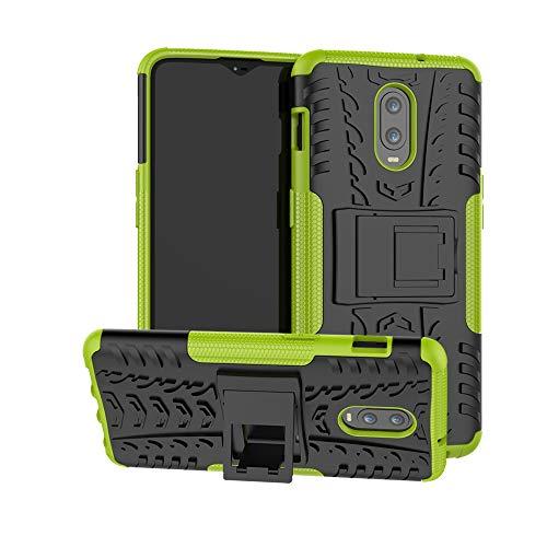 HongMan Handyhülle Kompatibel mit OnePlus 6T Hülle, Outdoor Handy Tasche Dual Layer Hybrid Case Stoßfest Schutzhülle mit Ständer, TPU Silikon + Hard PC Cover Bumper, Grün