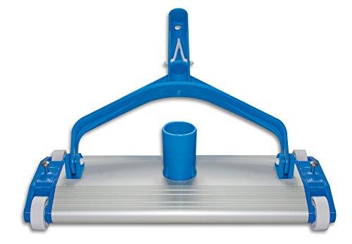 Productos QP 500340C Limpiafondos Metálico, Limpiador Manual de Piscinas, Cepillo de Nylon, 4 Ruedas Fijación Clip, Ancho: 335 mm, Azul
