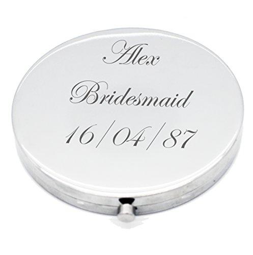 Vincenza Miroir compact rond argenté personnalisé en forme de cercle pour demoiselle d'honneur, cadeau de mariage avec n'importe quel nom et message gravé