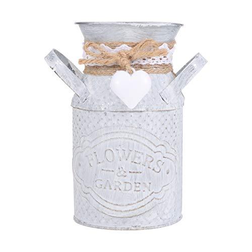 Cabilock - Vaso per fiori in metallo, stile vintage, stile shabby chic, per la decorazione del giardino