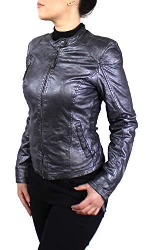 Lederjacke Aky - Damen Jacke aus echtem Lamm Leder mit in schimmerndem Silber (Silber, XL)