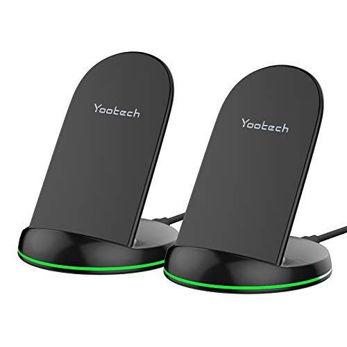 Yootech [2 Pack] Wireless Charger Qi-Certified 10W Max Wireless Charging Stand, Compatible with iPhone 12/12 Pro/12 Mini/12 Pro Max/SE 2020/11 Pro Max, Galaxy S21/S20/Note 10/S10 Plus(No AC Adapter)