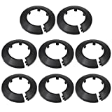 uxcell 50-51mm Pipe Cover Decoration PP Radiator Escutcheon Water Pipe Wall Cover Black 8 Pcs
