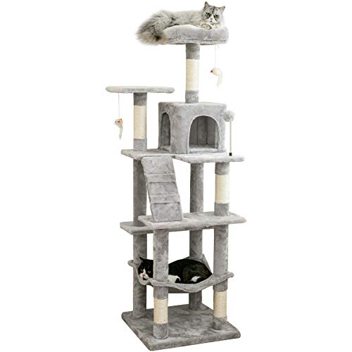 MWPO 63.8 inches Multi-Level Cat Tree for Large Cats with Sisal-Covered Scratching Posts, Padded...