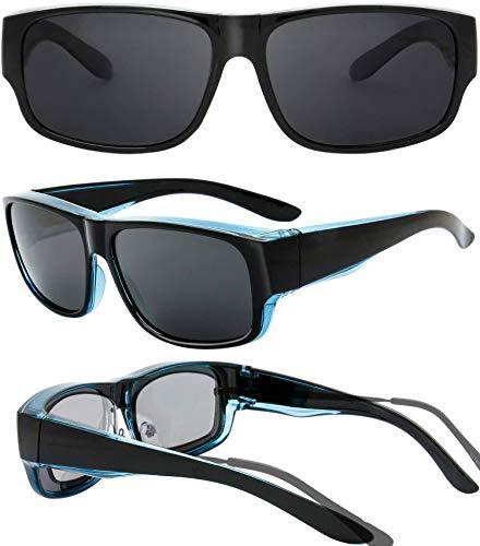 The Fresh High Definition Polarized Wrap Around Shield Sunglasses for Prescription Glasses 66mm Gift Box (407-Crystal Blue Green/ Black Paint, Grey)