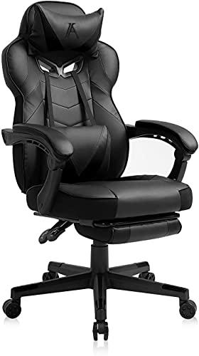 AJS - Sedia da gaming, in pelle PU, per computer, con schienale alto, schienale alto, sedia da gaming, con poggiapiedi, poggiatesta e cuscino lombare (nero)