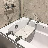 Bath Bench, Heavy Duty Shower Stool Aluminium Adjustable Length Bathroom Seat 74-82cm, Plastic Bathtub Seat for Elderly, Disabled, Handicapped, Upto 130kg Weight