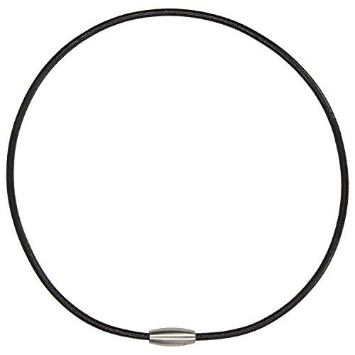 Zinngeschenke Lederband glatt schwarz, Halsband rund mit Magnetverschluss aus Edelstahl, Länge 45 cm, Stärke 3,0 mm