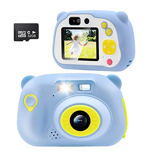 Veroyi Kinderkamera Digitalkamera Spielzeug Kleinkind Kamera mit vorne und hinten Selfie-Kamera 15.0MP 1080P 32 GB TF-Karte, Spielzeug Camcorder für 4 bis 10 Jahre alte (blau)