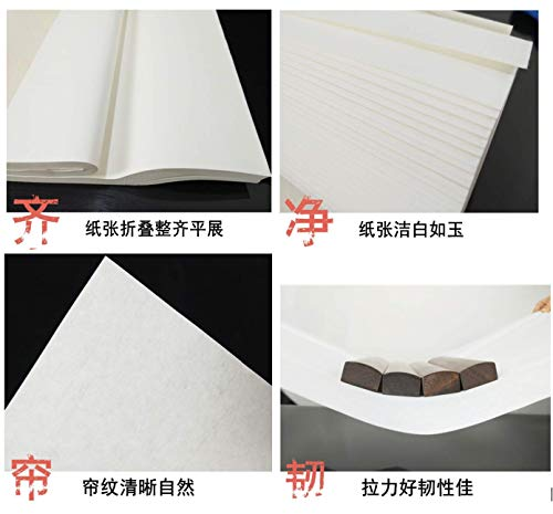 MEGREZ Chinese Japanese Calligraphy Practice Writing Sumi Drawing Xuan Rice Paper Thickening Without Grids 100 Sheets/Set - 34 x 68 cm (13.38 x 27.77 inch), Sheng (Raw) Xuan