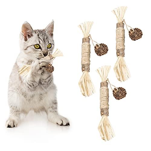猫用ミントボールおもちゃ、猫の歯ぎしりスティック、キティの歯のクリーニング用の天然シルバーつるスティック、100%自然安全無添加のおもちゃ、肥満の除去、消化を助け (3つセット)