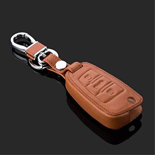 Funda de piel para llave de coche con mando a distancia para Audi A1 TT A4L A6 A5 A7 A8 Q3 Q7 Q7 S5 S6 S7 S8 (marrón)
