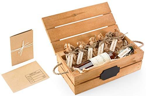Geschenk für Männer und Geburtstagsgeschenk für Frauen, Vintage deko Geschenkideen, Wein Holz Box mit Grußkarte und lustige Holzetiketten, Perfekt für Geldgeschenke - für einen Freund