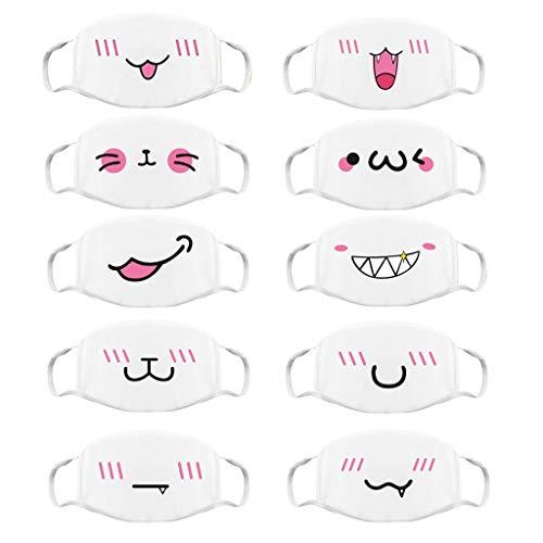 Blingko Face Cover Multifunktionstuch Netter Anime Waschbare Mundschutz Motorrad, Fahrrad, halbes Gesicht, Halloween, Outdoor, Sport, Winddicht,Atmungsaktiv Halstuch (D 10pcs)