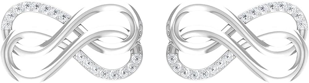 April Birthstone - Double Infinity Diamond Stud Earrings (AAA Quality), Screw back