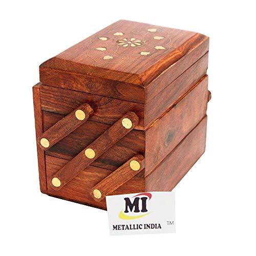 Metallischer indischer Schmuck, handgefertigte Holz-Schmuckschatulle für Frauen, Schmuck-Organizer, handgeschnitzte Schnitzereien Geschenkartikel