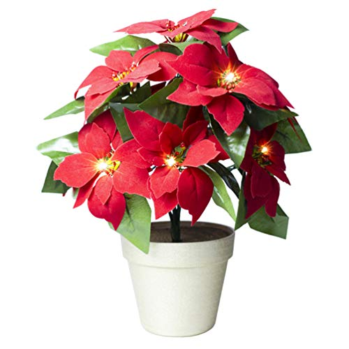 OSALADI Artificial Poinsettia Plants with Lights Christmas Decorations Floral Accessories Xmas Gift for Home Table Fireplace Window