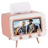 MA Keleily Caja de Pañuelos Blanca, Dispensador de Pañuelos de Papel TV en Forma de Caja Pañuelos Papel Plastico con Soporte para Teléfono Móvil para Hogar, Oficina, Escritorio, Baño, Cocina